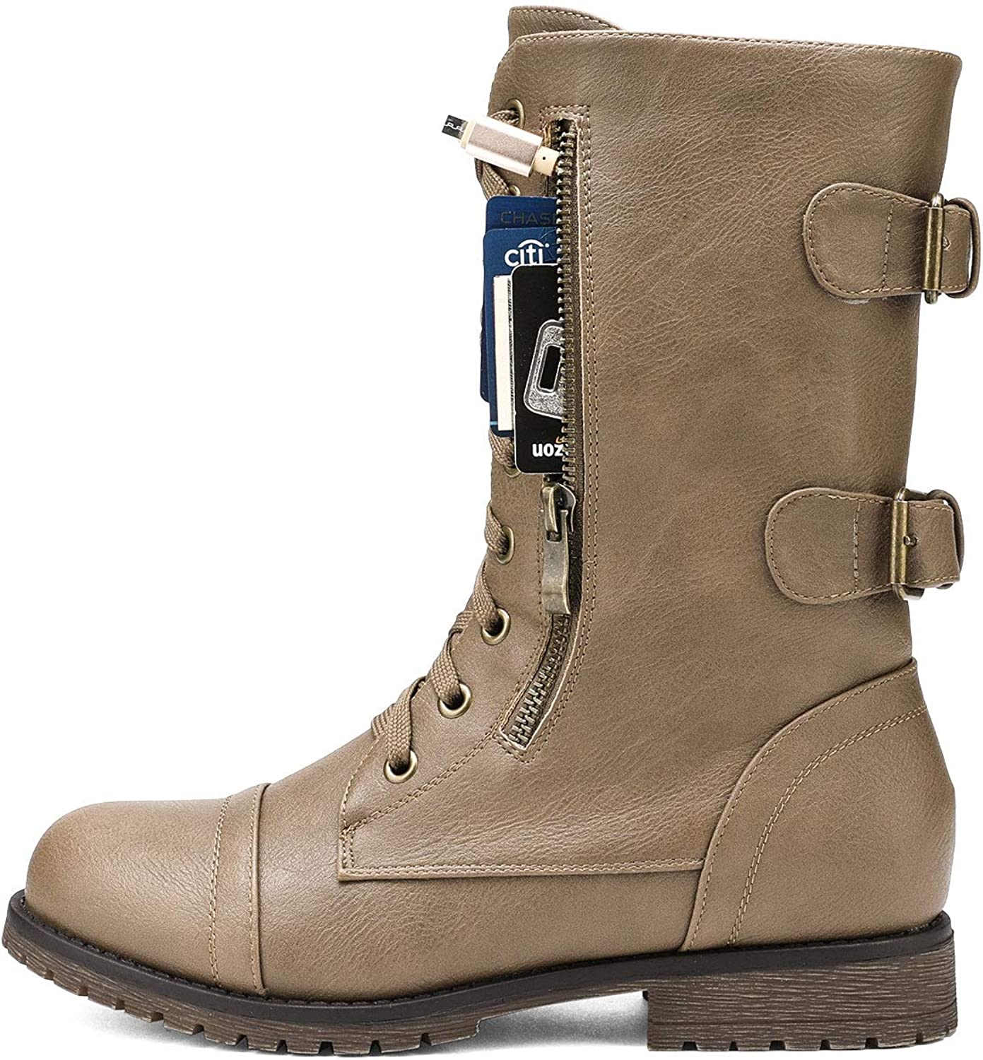 DREAM PAIRS Womens Ankle Bootie Winter Lace up Mid Calf Military Combat Boots
