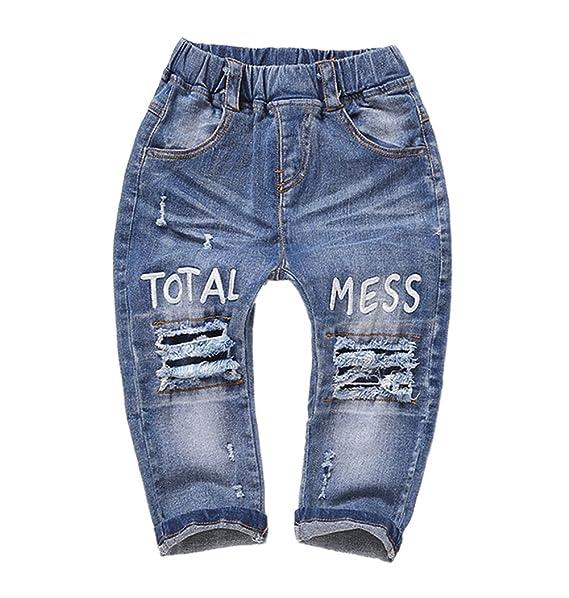 Amazon.com: Kidscool, jeans elásticos con tajos tiro ...