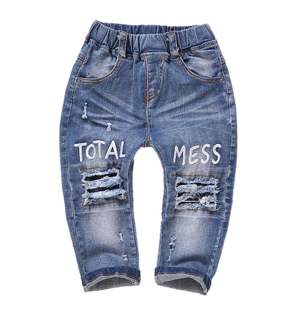 Kidscool Baby and Little Girls Elastic Waist Ripped Holes Denim Pants Jeans Blue 3 - 4 Years by Kidscool (Image #1)