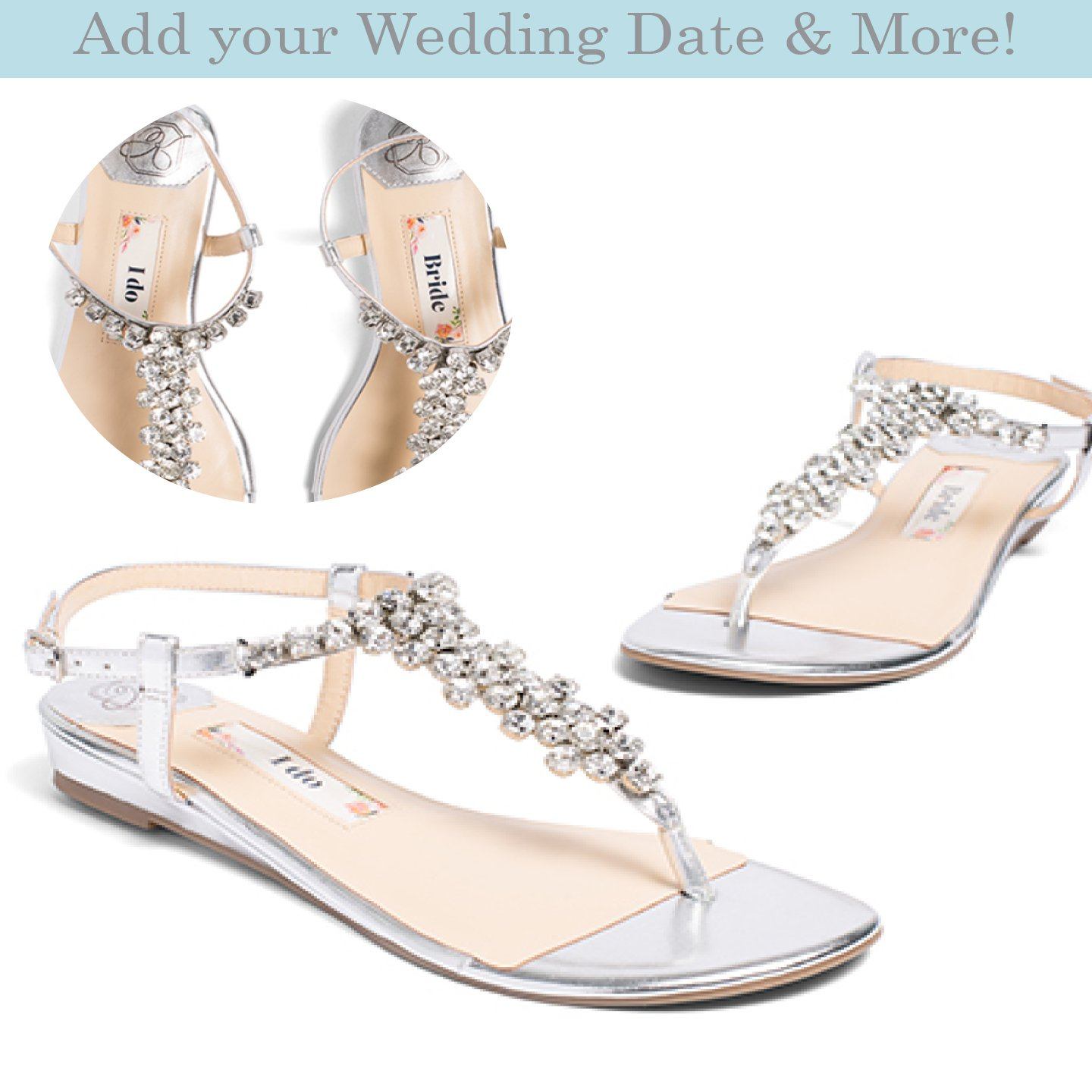 "Flat Wedding Shoes -""Patent-Pending"" personalization - Silver wedding sandal - Style Bella"