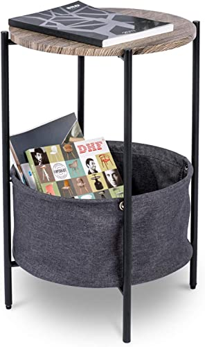 Round End Side Table with Fabric Storage Basket, Kealive Industrial Coffee Table Nightstand with Metal Frame, Easy Assembly and Durability, Charming, Grey