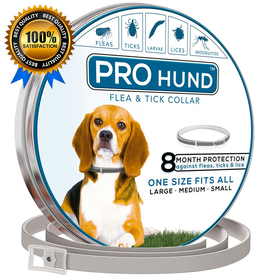 PROhund LLC Flea Collar for Dogs - 8 Months Protection - Hypoallergenic and Safe Design, Adjustable Waterproof - One Size Fits All - Small, Medium, Large Dogs