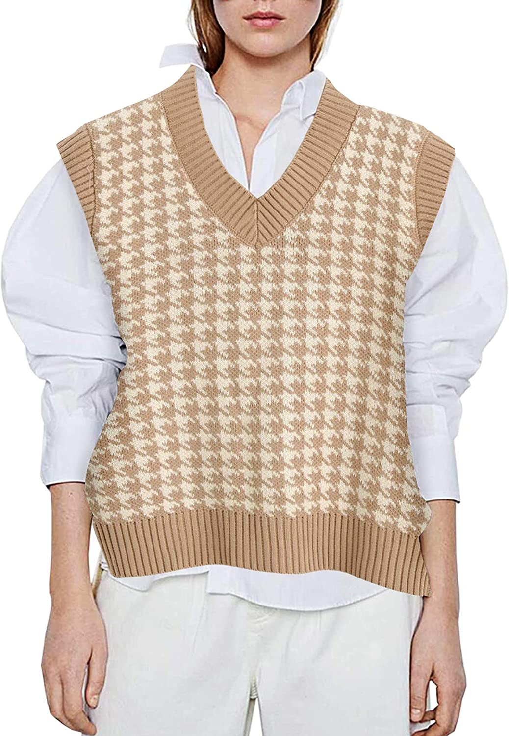 Oversized Houndstooth Knitted Women Sweater Vest V Neck Vintage Pullover Tank Tops at  Women's Clothing store
