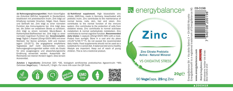 Zinc Active Power Citrate 32% 25mg | Zinc Citrato | Excelente ingesta | Sin OGM | Vegano | Calidad de Alemania | Sin gluten | 90 VegeCaps: Amazon.es: Salud ...