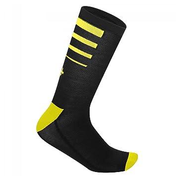 zero rh+ Calcetines Bici Invierno Mod.Feel 15 Sock Negras/Amarillas Cod.icx9602