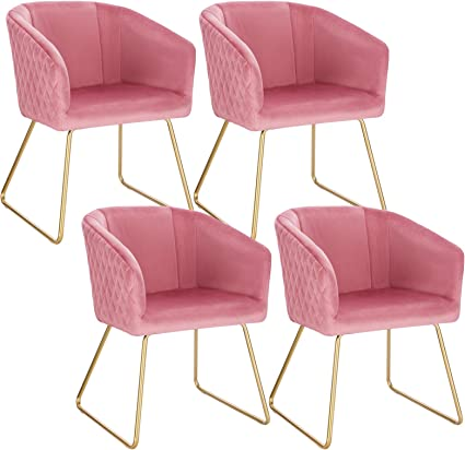 WOLTU Sedia da Cucina in Velluto Rosa Poltroncina per Soggiorno Lounge Grande Seduta Morbida BH271rs-1