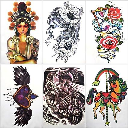 Tatuajes temporales para hombres adultos Mujeres niños (6 hojas ...