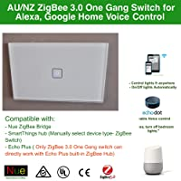 AU Approved Smart ZigBee 3.0 One Gang AU/NZ Approved Light Switch for Wireless Home Automation Google Home Amazon Echo Dot Echo Plus Alexa Voice Lighting Control