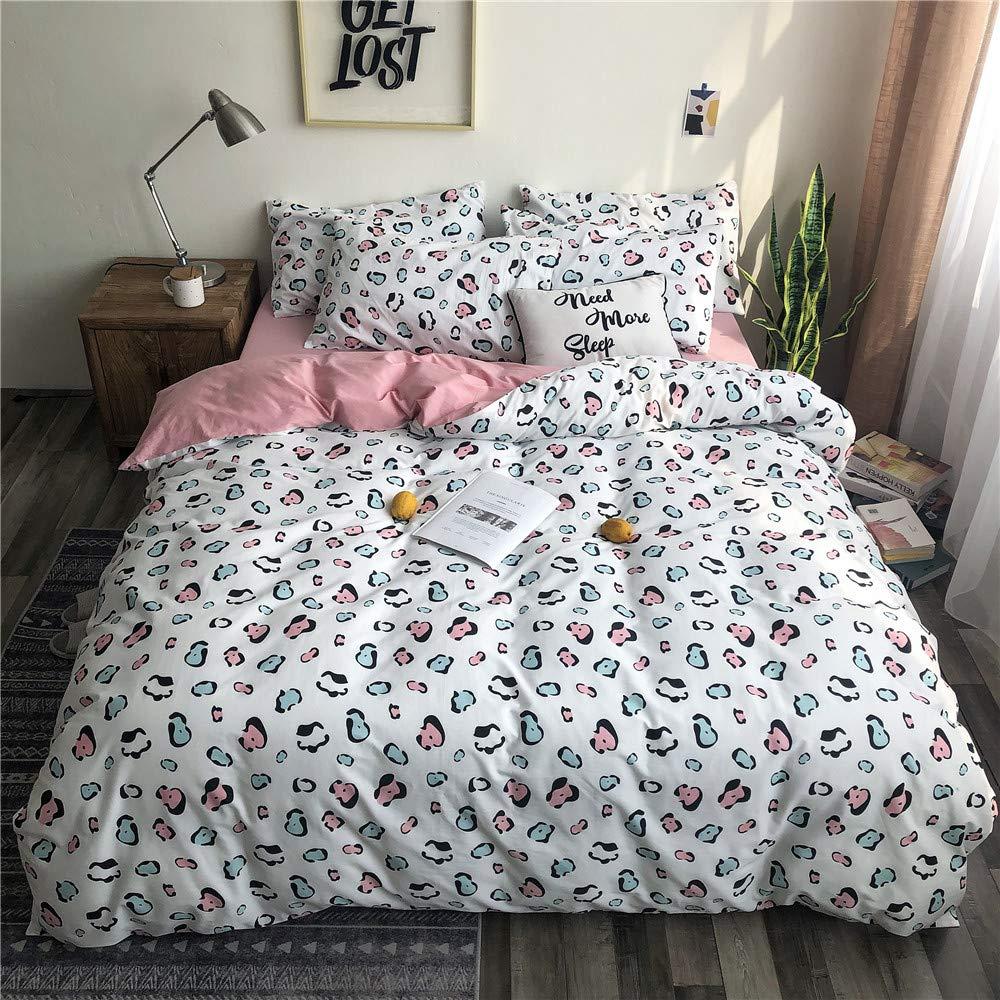 VM VOUGEMARKET Twin Duvet Cover Set,100% Cotton Leopard Print Duvet Cover with Zipper Closure,Reversible Grids Bedding Set for Kids Adults