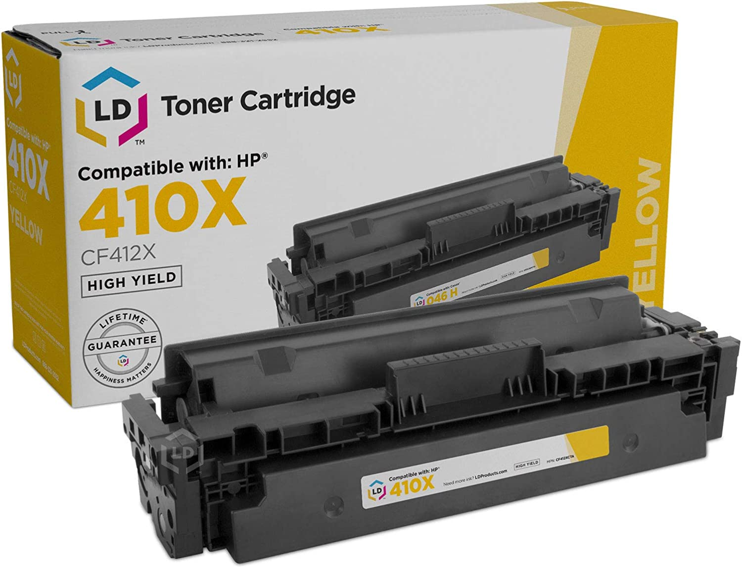 LD Compatible Toner Cartridge Replacement for HP 410X CF412X High Yield (Yellow)