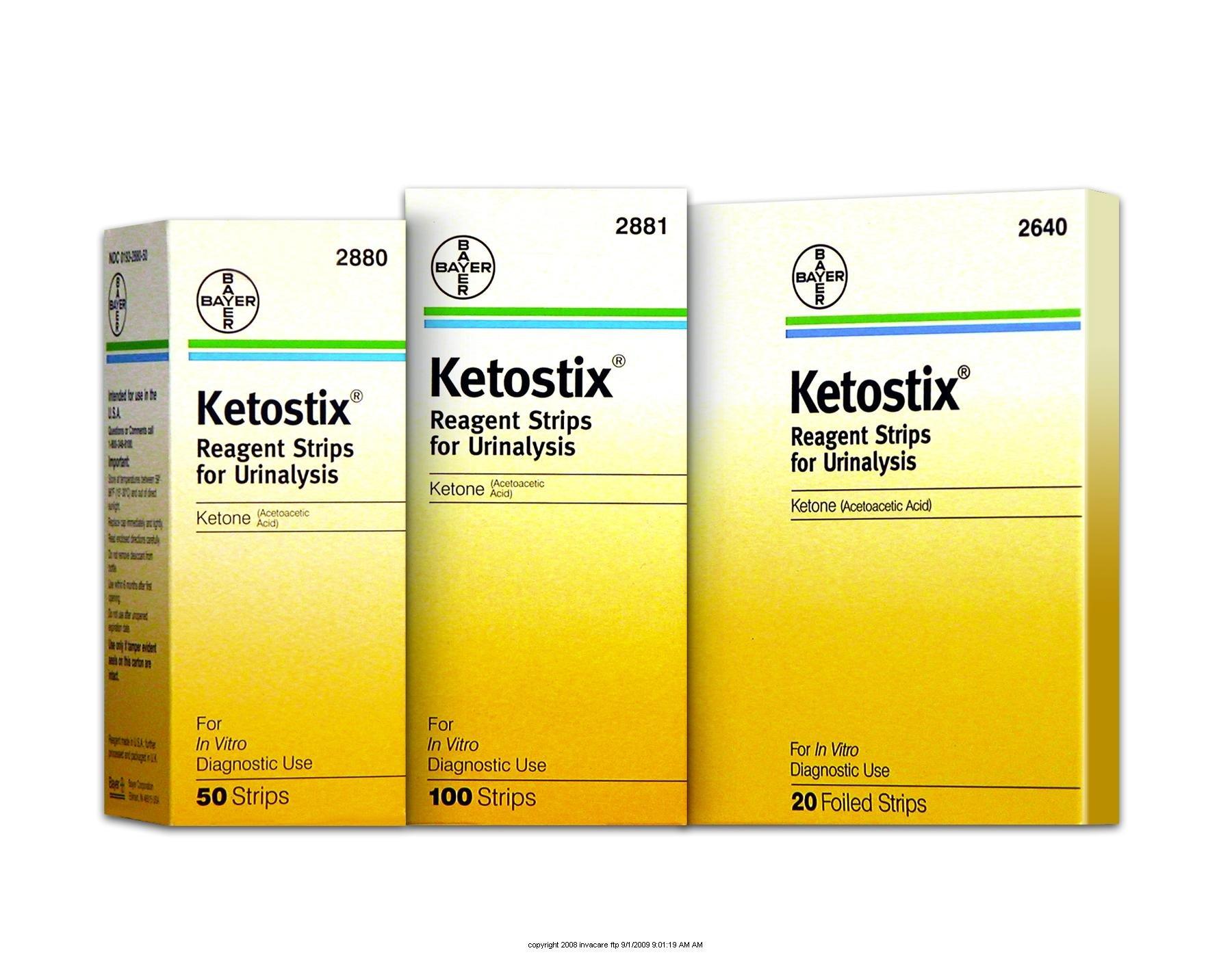 Bayer (Model#BA-2881) Ketostix Reagent Urine Test Strips - 1/Case of 1200 (100 Strips per Box, 12 Boxes per Case)
