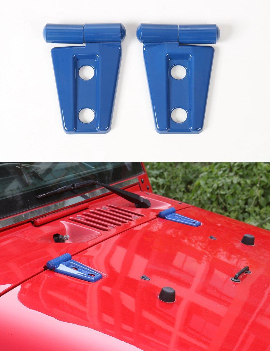 opar Blue Hood Hinge Cover for 2007-2018 Jeep Wrangler - Pack of 2