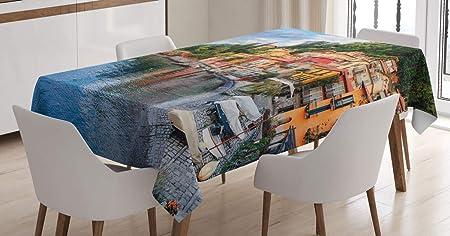 Imagen deABAKUHAUS Italiano Mantele, Yate Barco Idílico Ciudad, Resistente al Agua Apto Uso Exterior e Interior No Destiñen, 140 x 200 cm, Multicolor