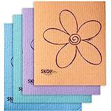 Skoy Cloth - 4 Pack - Eco-Friendly Swedish Dishcloth - Assorted Colors (pink, blue, yellow, orange, gray, purple, apple…
