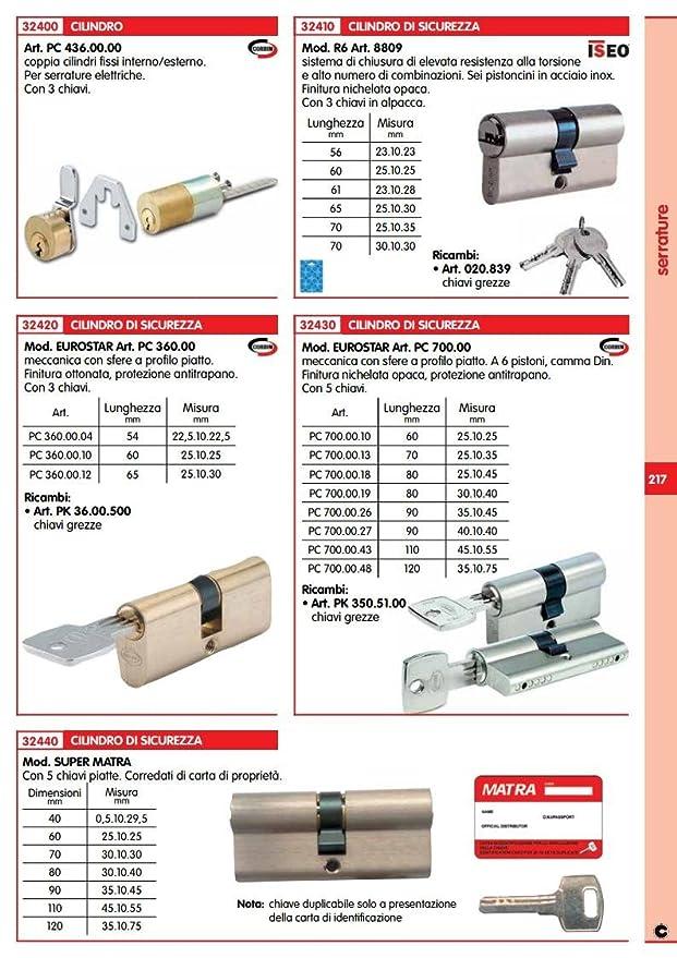 Iseo new chiave grezza per cilindro Mod R6 Art 8809