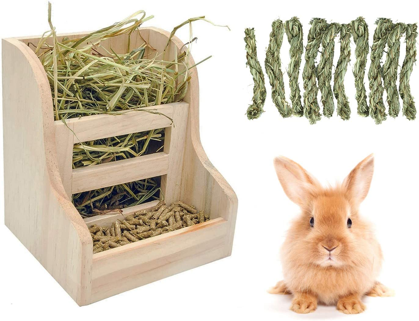 Rabbit Hay Feeder Rack,Wooden Wall-mountable Grass Food Bin Hand-Woven Timothy Hay Twist for Small Animal Supplies Rabbit Bunny Chinchilla Guinea Pig Hamsters