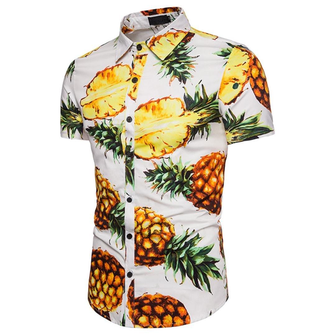Btruely T-shirt Herren Standshirt Hawaii Kurzarmshirt Slim Fit Top Ananas T- Shirt Sommer d62b96808f