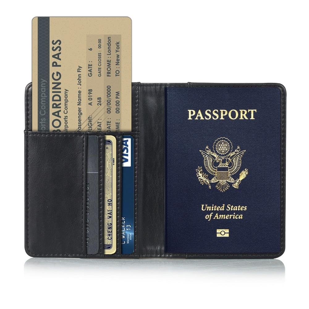 Pasaporte Cartera,KATUMO Funda Pasaporte Cover Case con RFID Protecci/ón Cartera Billetes de Avi/ón,Cartera de Viaje-#1Azul 1