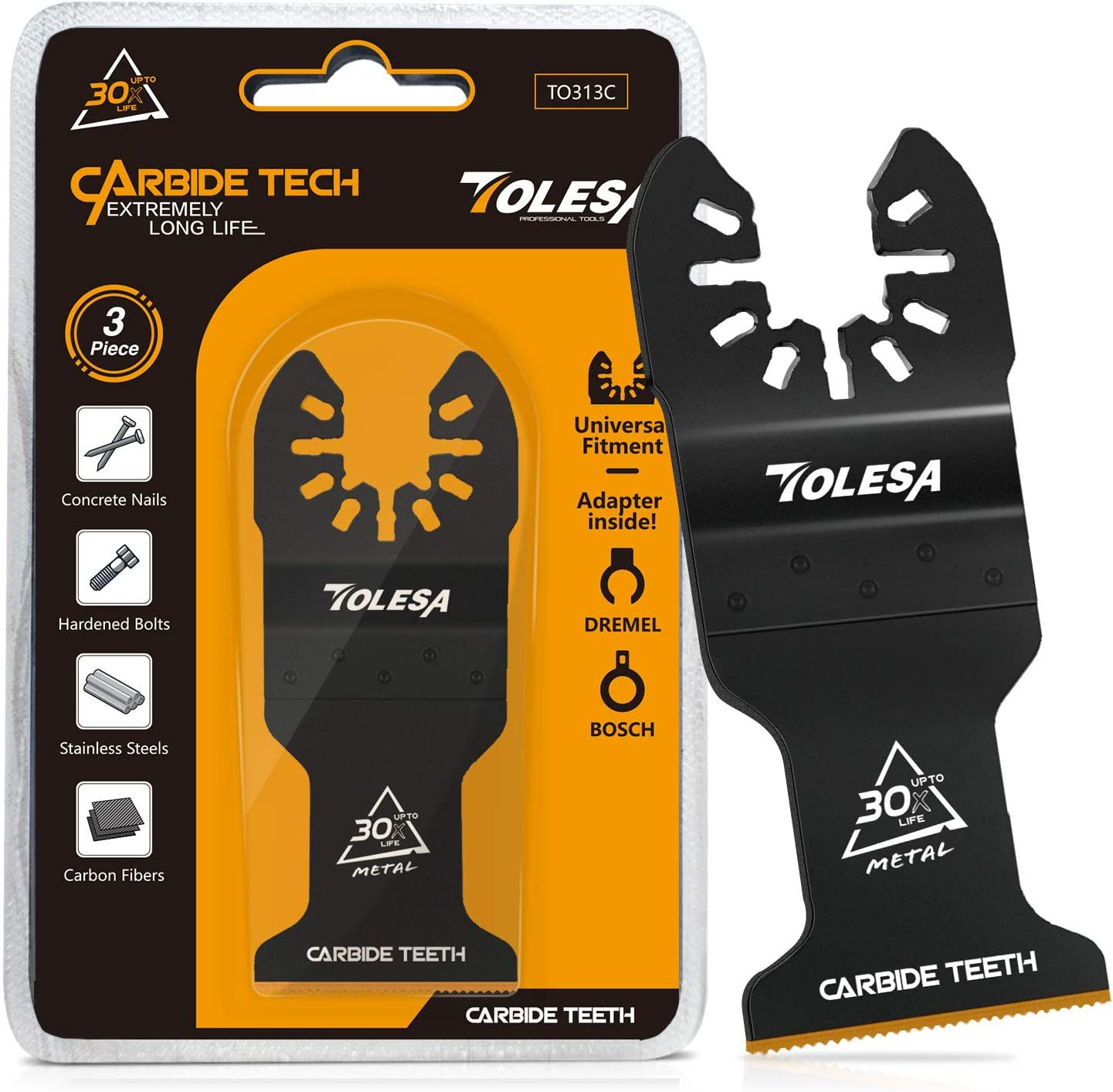 Carbide Multitool Saw Blades Set for Hard Material Nails 3 PCS Hardened Metal
