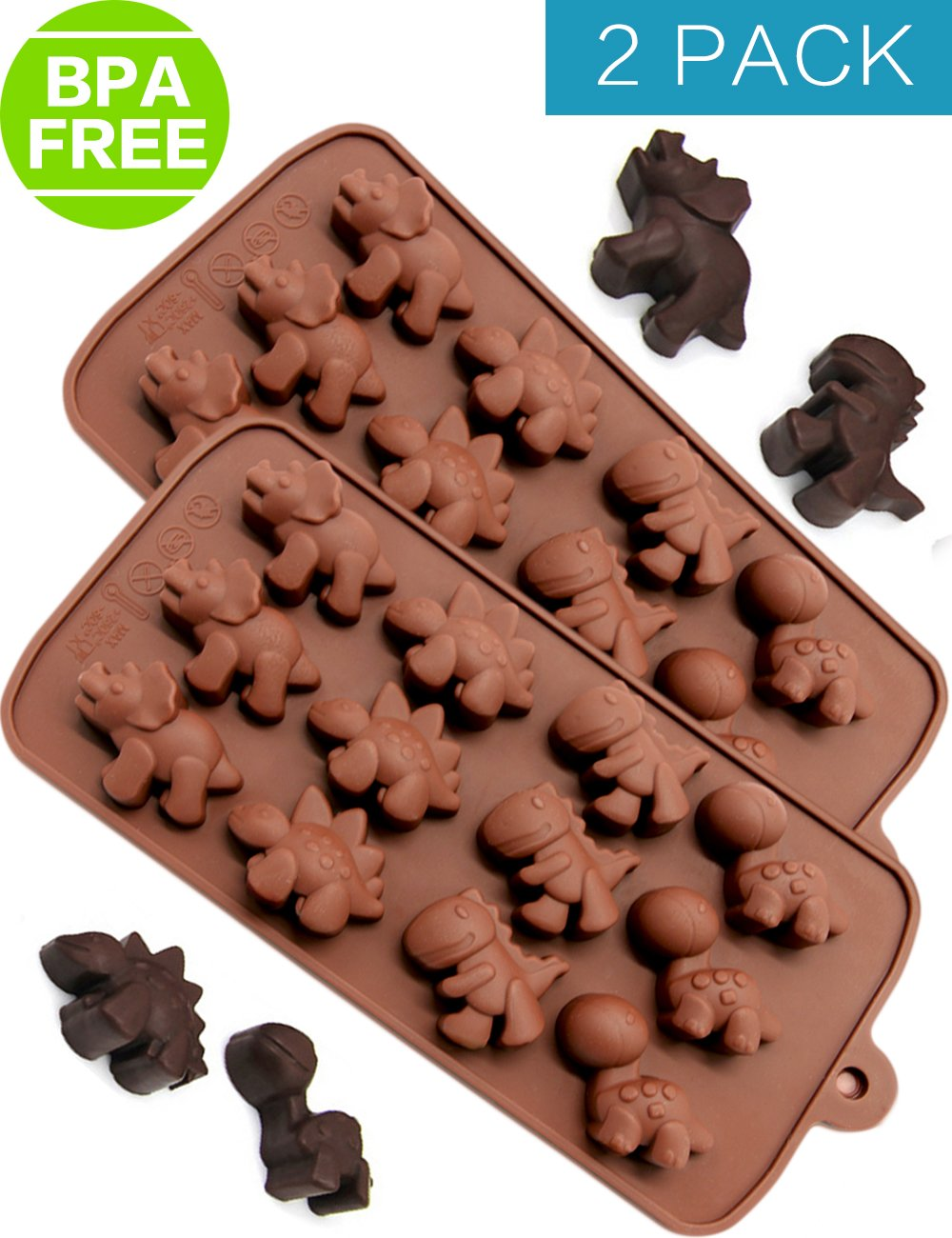 Silicone Chocolate Molds & Baking Candy Molds - 2 Pack Dinosaur Silicone Mini Non Stick Pan