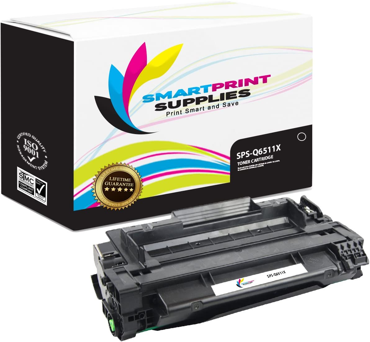 12,000 Pages Smart Print Supplies Compatible 11X Q6511X Black High Yield Toner Cartridge Replacement for HP Laserjet 2400 2420 2430 Printers