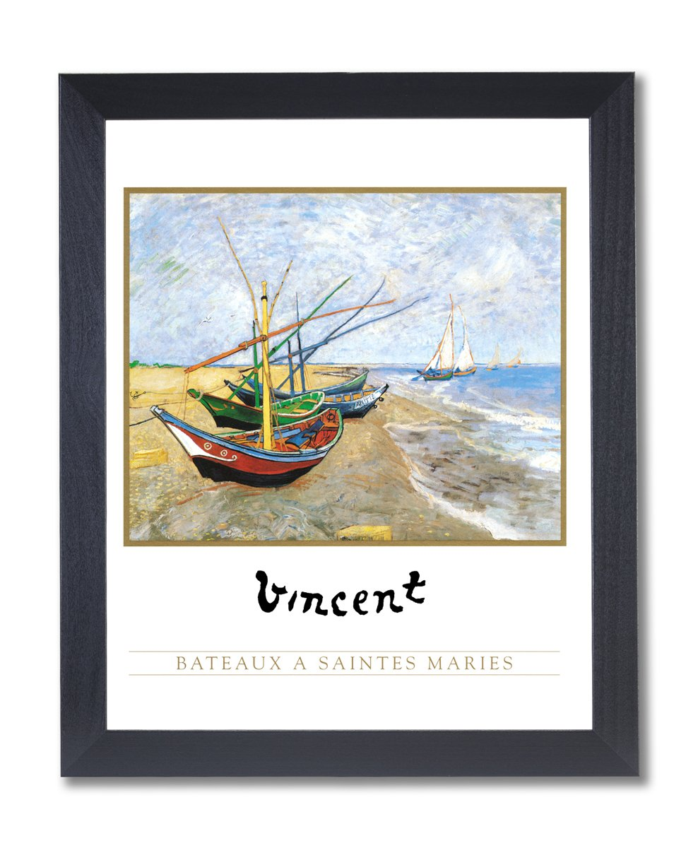 Amazon.de: Vincent Van Gogh Lake Beach Segelboot Bild schwarz ...