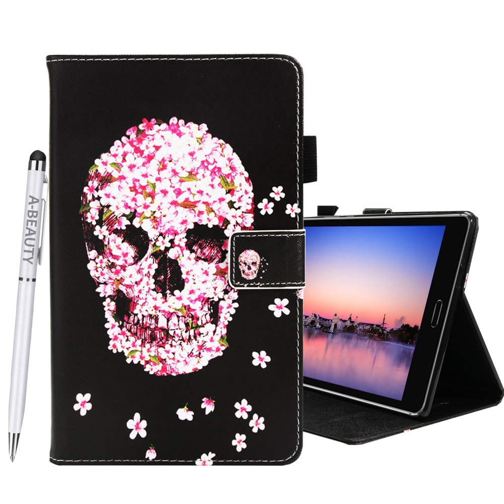 A-BEAUTY MediaPad M3 Lite 8.0 Case, Painted Leather Soft TPU [Card Slots] Stand Wallet Smart Cover Shockproof For Huawei MediaPad M3 Lite 8.0 Inch Tablet + 1* Free Stylus Pen, Constellation