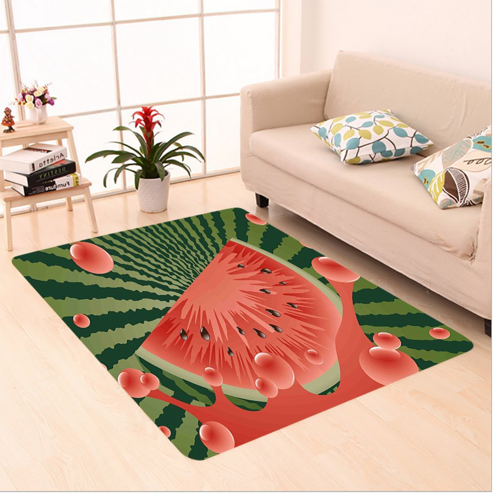 Nalahome Custom carpet r Beach Fruit Vegetarian Garden Health Life Hot Season Image Olive Green Dark Coral Hunter Green area rugs for Living Dining Room Bedroom Hallway Office Carpet (5' X 8')