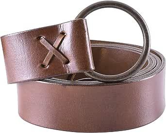 Battle-Merchant - Cinturón medieval de cuero - Para mujer, hombre o niño - Con anilla de latón - Ideal para LARP y estilos vikingos -