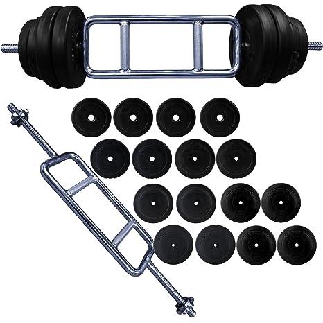 """BodyRip – Pesas para tríceps 92 kg 1 """"tríceps Bar y vinilo peso placas"""