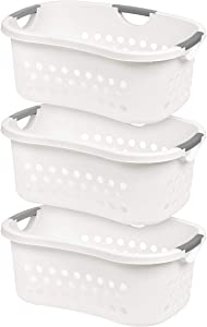 IRIS USA, Inc. HLB-1 Comfort Carry Laundry Basket, White, 3 Count