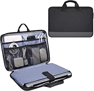 13.5-15 Inch Waterproof Laptop Sleeve Men Women Briefcase with Organizer for Dell Inspiron 13 5000, Lenovo Yoga C940 C930, Acer Chromebook 14, Surface Book 13.5, HP ASUS Chromebook Carring Case, Black