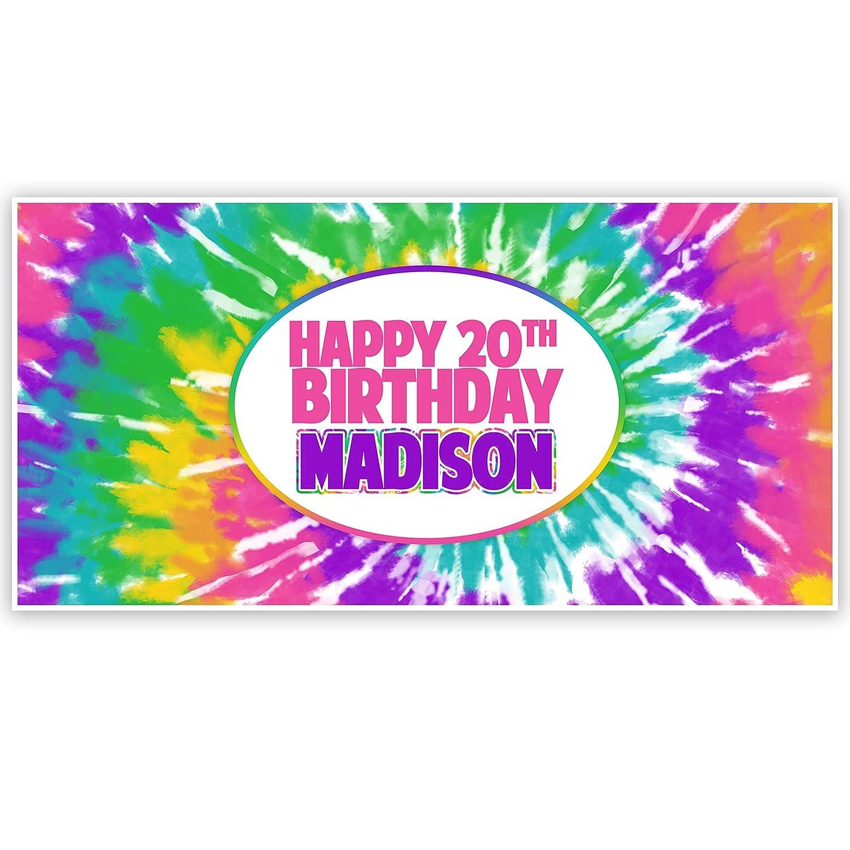 Tie Dye Birthday Personalized Banner