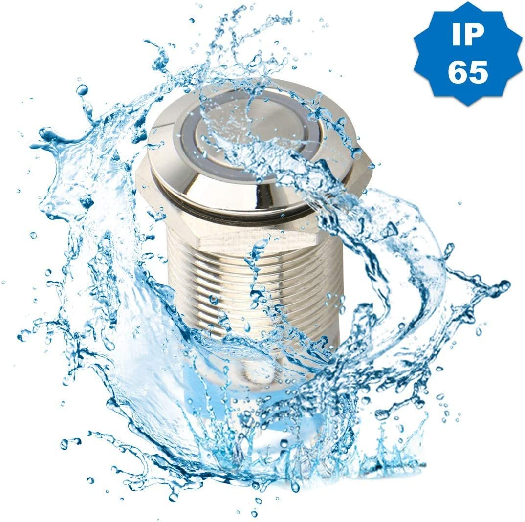 Waterproof Self-Locking Round Marine Switch with Blue LED Light for 12mm 1//2 Mounting Hole 4 Pin Car RV Truck Boat SPDT ON//OFF Switch Thlevel 6x DC 12V//24V Metal Latching Push Button Switch
