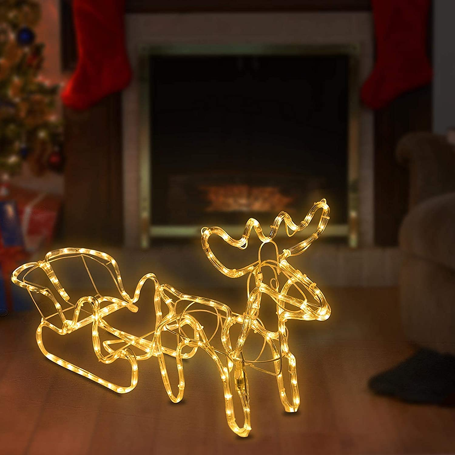 XUEYU Pre-lit Christmas Lighted Sleigh and Reindeer Waterproof Plug in LED Rainbow Tube Decoration for Outdoor Yard Home Party