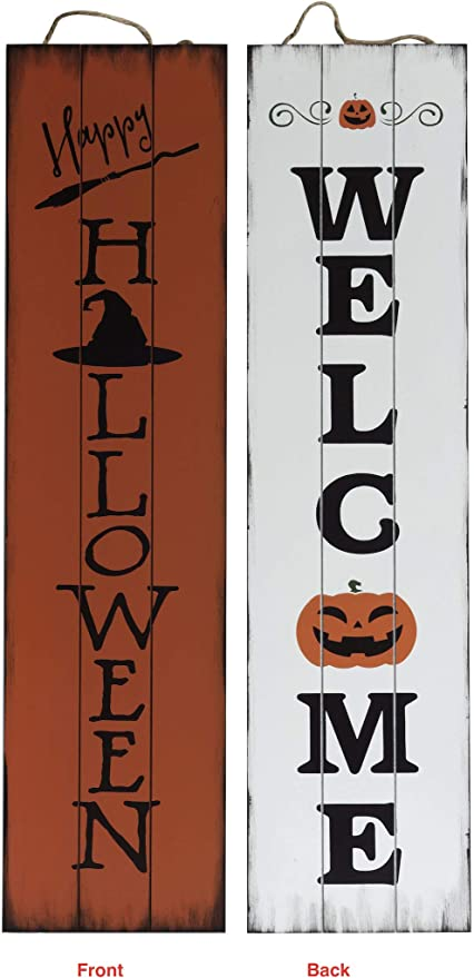 Amazon.com: TX USA Corporation Reversible 2 Sided Wooden Happy Halloween Porch Sign - Multicolored: Home & Kitchen