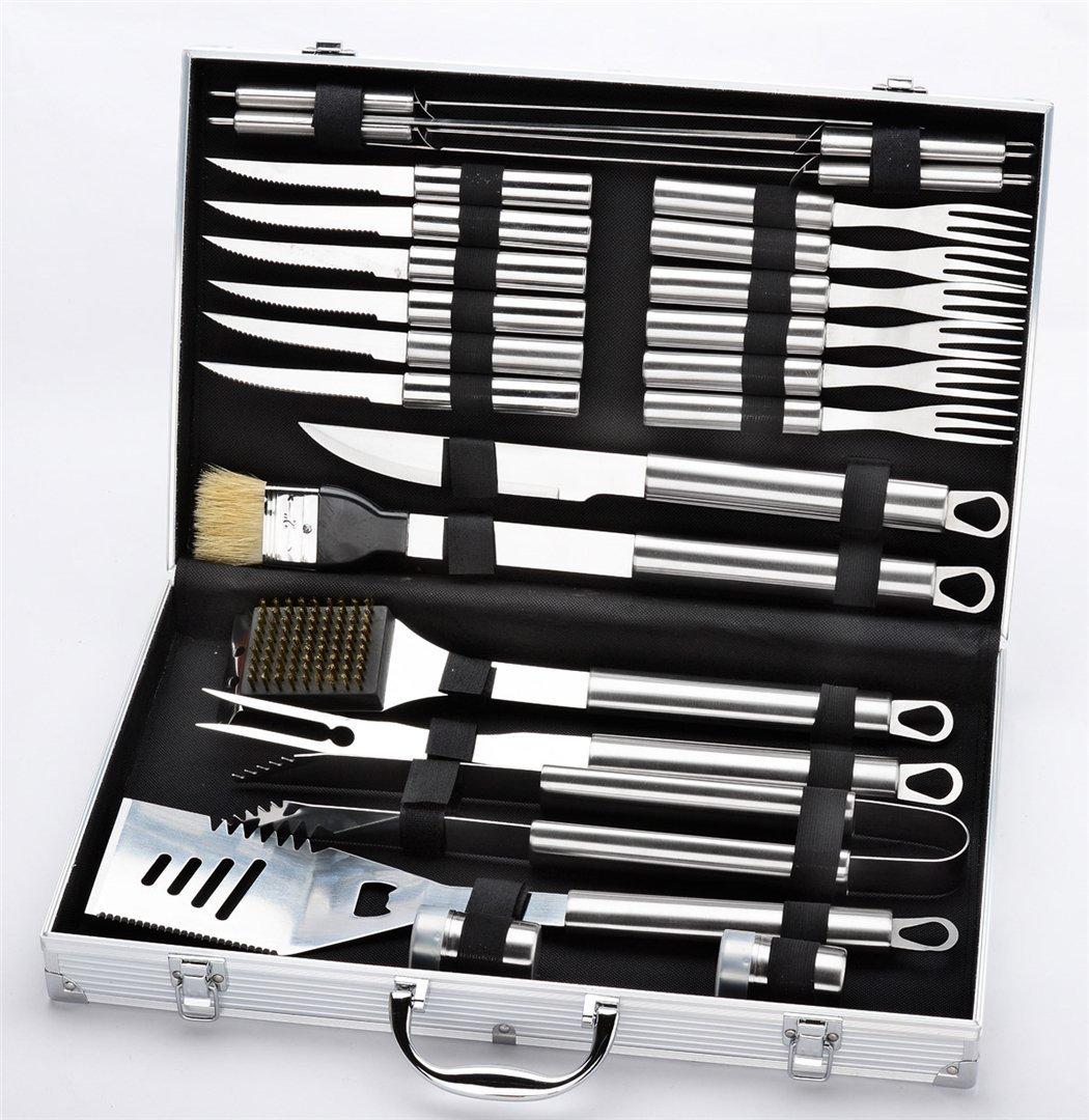 JasCherry 24-teilig Edelstahl Grillbesteck mit Aluminium Aufbewahrungskoffer, Erschwinglich Barbecue Grill Werkzeug Set Kit, Silber, Speicher-Box-Größe 60 x 30 x 10cm, Gewicht 3.3 kg