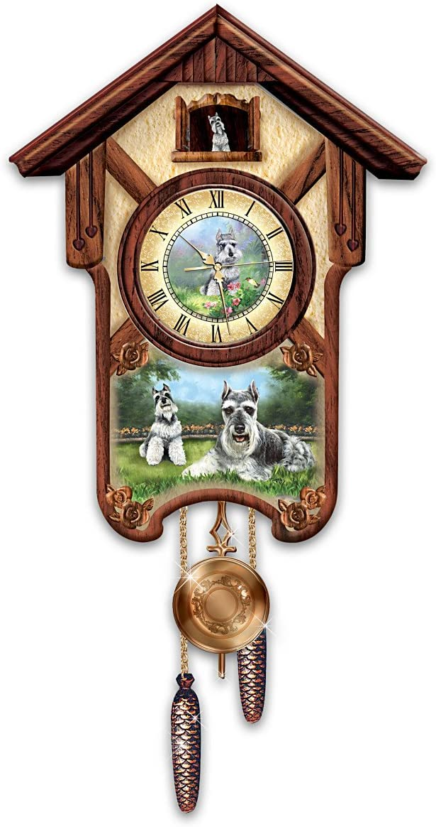 The Bradford Exchange Linda Picken Sweet Schnauzers Cuckoo Clock