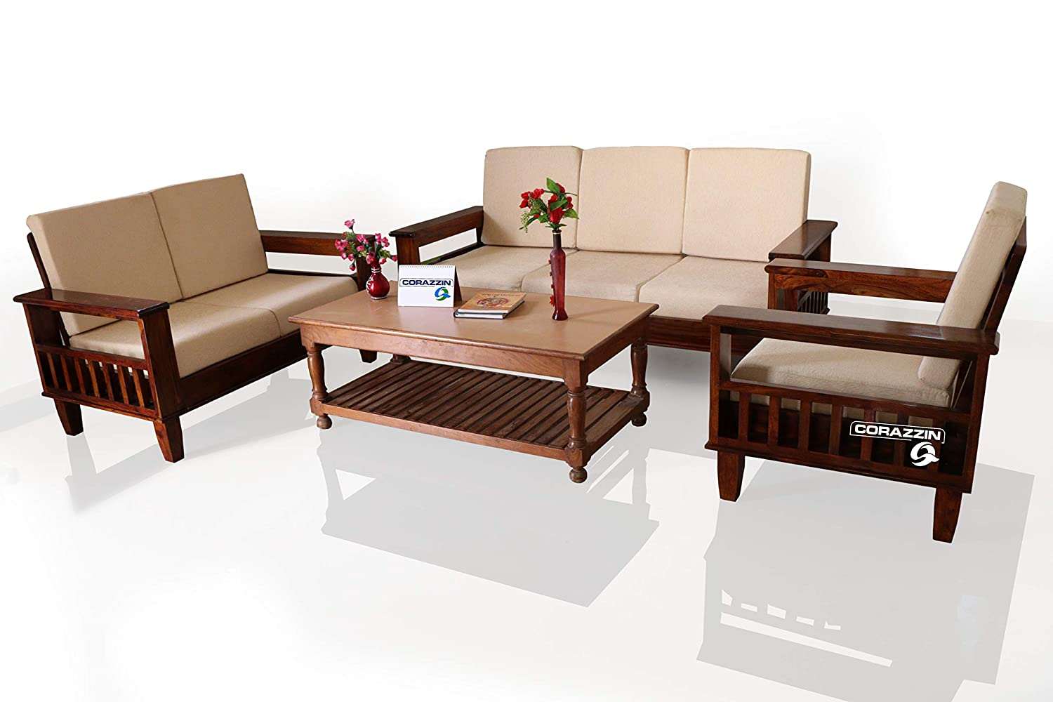 corazzin wood sheesham sofa set for living room wood furniture rh amazon in modern living room wooden furniture wooden frame living room furniture