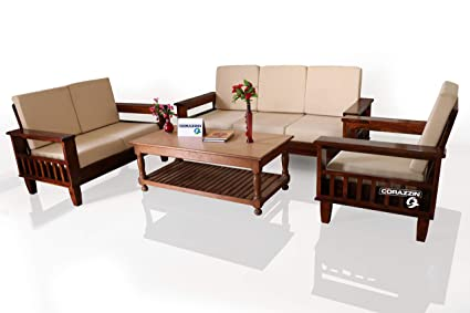 Corazzin Wood Sheesham Sofa Set For Living Room Wood Furniture Wooden Sofa Set 3 2 1 6 Seater Sofa Natural Brown Finish