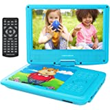 """DBPOWER 9.5"""" Portable DVD Player, Swivel Screen , 4 Hours Rechargeable Battery, Supports SD Card and USB Port, Direct Play in Formats AVI/RMVB/MP3/JPEG (Blue)"""