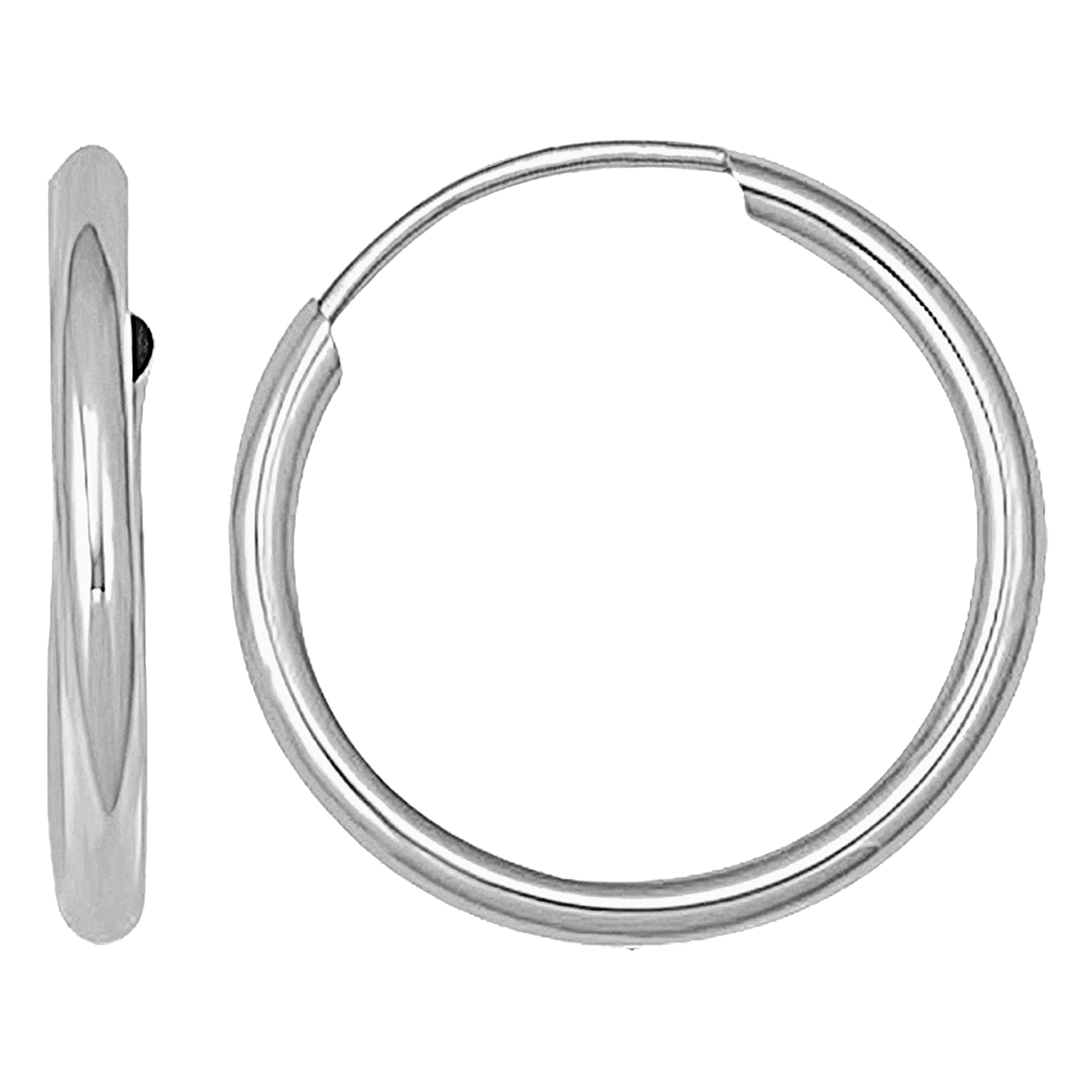 14K Solid White Gold Endless Loop Hoop Timeless Earrings 2 mm Gauge/Thickness Available in Multiple Diameters - Segment Septum Lip Nose Round Hoop Tragus Helix Cartilage (2.00 Inch)