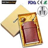 Gennissy 304Fiaschetta da 2,3 litri in acciaio inossidabile 18/8, in pelle marrone con 3tazze e imbuto, 100% a prova di perdite, Acciaio inossidabile, With Yellow Gift Box Funnel, 230 g