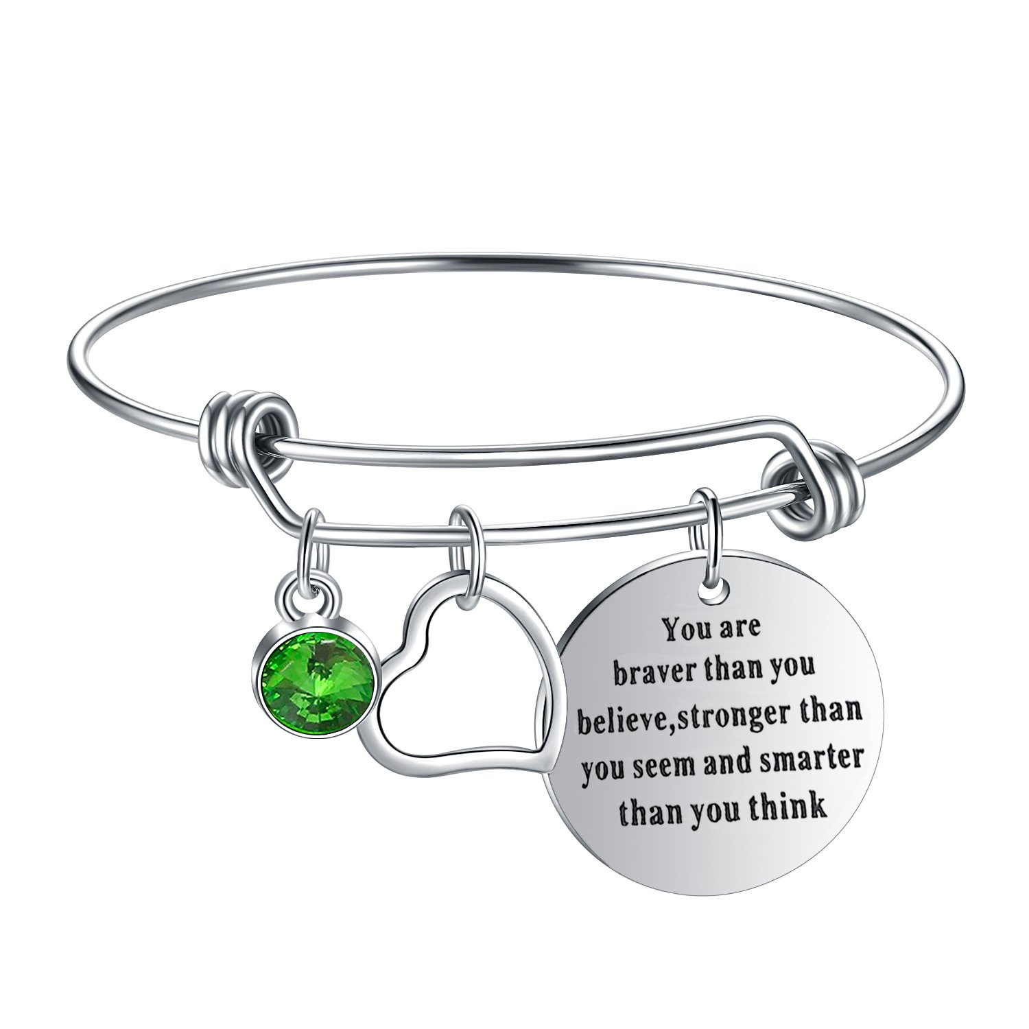 Yoomarket ''You are braver than you believe Inspirational Birthstone and Heart Adjustable Charm Bangle Bracelet Stainless Steel Womens Jewelry Birthday Girls Gifts(08-Aug.-Peridot)