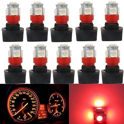 Amazon com: WLJH 10pcs Super Bright Red T10 PC194 LED Light