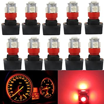 WLJH 10pcs Super brillante rojo T10 PC194 Bombilla LED 5SMD 5050 Chipset LED Panel de instrumentos