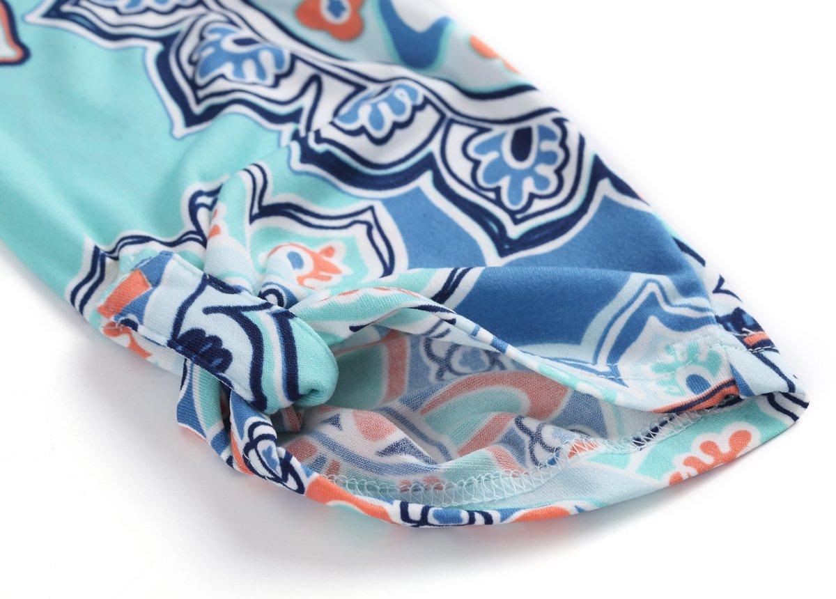 Zattcas Womens Floral Printed Tunic Shirts 3//4 Roll Sleeve Notch Neck Tunic Top