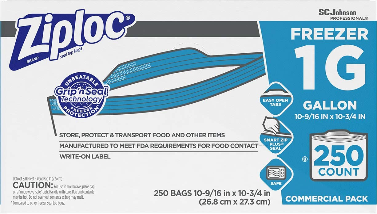 Ziploc Professional Freezer Bags, For Food Organization and Storage, Double Zipper, Gallon, 250 Count