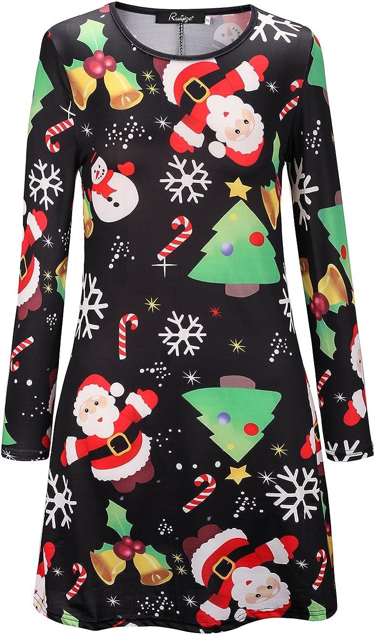 NEW GIRLS CHRISTMAS PRINT LONG SLEEVE SWING DRESS