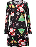 Womens Mini Dresses Christmas Trees Xmas Santa Snowman Reindeer Ladies Swing Top